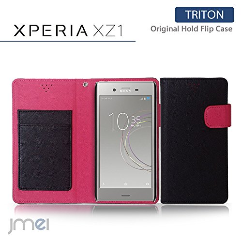 Xperia XZ1 ケース SOV36 SO-01K 手帳型 エクスペリア xz1 カバー ブランド 衝撃 手帳 閉じたまま通話 ケース おしゃれ 手帳型ケース TRITON ブラック Sony ソニー simフリー スマホ カバー スマホケース スマートフォン