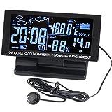 Eaglerich 5Brand 4in1デジタル車の温度計湿度計12V DCの液晶画面温湿度記録計天気予報電圧時計