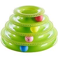 PovKeever 猫用 回転ボール ぐるぐる ペットおもちゃ 猫用知育玩具 遊ぶ盤 ボール遊び 運動不足 ストレス解消 多色 size 4段 (緑)