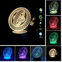 (Rings-In-Rings) - Yaekoo USB Powered 7 Colours Amazing Optical Illusion Shark 3D Glow LED Lamp Art Sculpture Lights Produces Unique Lighting Effects and 3D Visualisation for Home Decor (Rings-In-Rings)