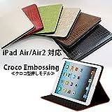 iPadケース ipadAirケース Air2ケース シンプル クロコ柄 鰐柄 人気商品 (ipadAir.AIR2, グリーン)