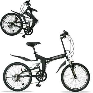 KYUZO 20インチ 折りたたみ自転車 シマノ純正6段変速にZOOM製フロントサス、リアサスを搭載した自転車の九蔵別注MTB! KZ-100 (マットブラック)