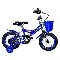 LVZAIXI ボーイズキッズバイクレッド/ブルー、スチールフレーム、1速調整可能なリーチレバーパドルコンフォートサドル ( 色 : 青 , サイズ さいず : 14Inch )