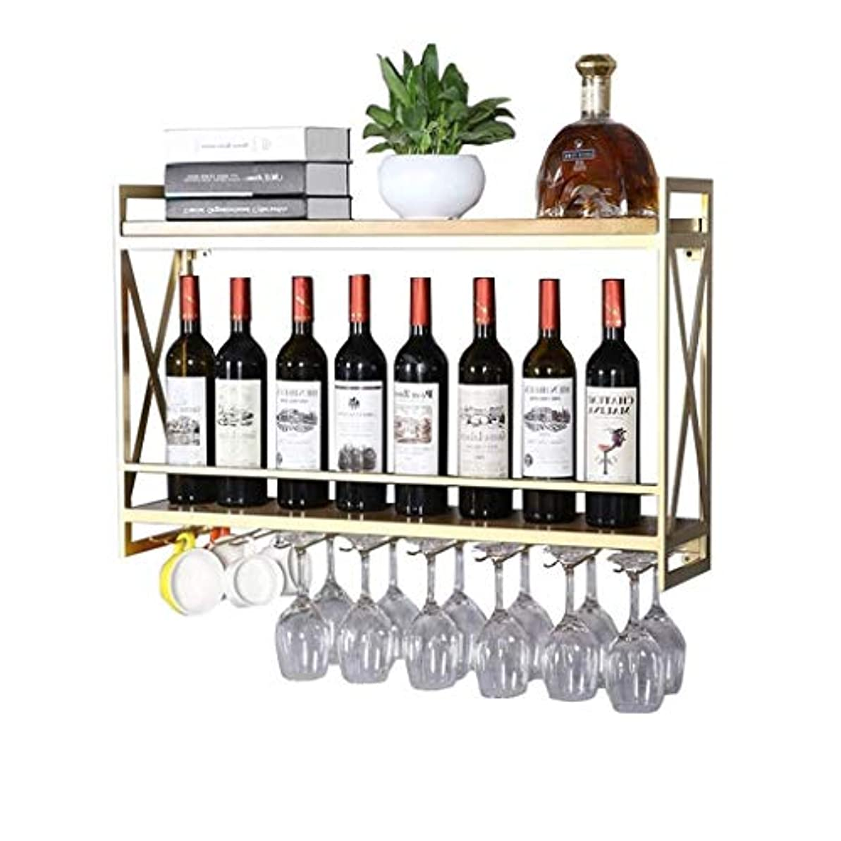 スキーステーキ付与Stemware Racksウォールマウントワインボトルホルダーウォールマウントワインラック|調整可能な高さ|壁掛けワインボトルホルダー|金属鉄ワイングラスカップラック|ゴブレット?ステムワール