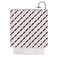 "KESS InHouse Vasare Nar Pastel Stripe Heart Pink Love Shower Curtain, 69"" x 70"" [並行輸入品]"