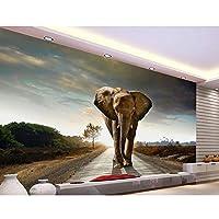 Ljjlm 3D壁紙写真壁紙カスタムリビングルーム壁画国道象3D絵画ソファテレビ背景壁紙用壁-120X100CM