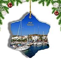 Weekinoギリシャコスクリスマスオーナメントクリスマスツリーペンダントデコレーション旅行お土産コレクション陶器両面デザイン3インチ