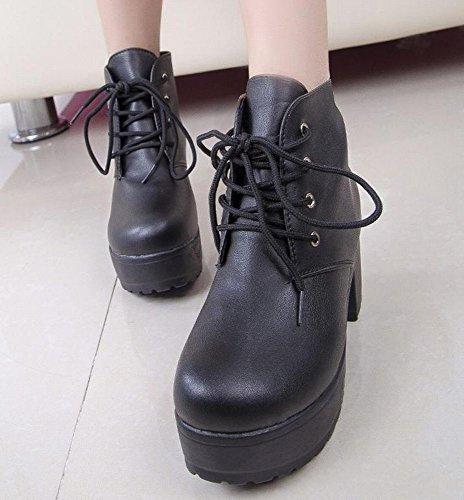 (ビューメンス) Beaumens 厚底 ショート ブーツ レースアップ 春 冬 レディース シューズ 靴 くつ ブーティ 230 黒 37