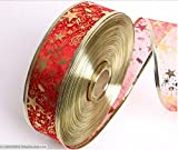 【選べる6色】 クリスマス用 装飾品 リボン ツリーの飾り や ラッピングにもどうぞ SK (リボン(星) 2m 赤)