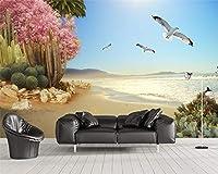 Bzbhart カスタム壁紙裸眼3D海辺の熱帯植物の花と鳥の背景の壁画3d壁紙壁画-350cmx245cm