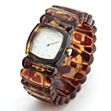 [タイムウィルテル] Time Will Tell 腕時計 Solid Colors トータス(べっ甲)柄 モダン&ヴィンテージ風味のPOPなバングル・ブレス・ウオッチ Solid-TO(G)-M [ベルト切れ1年保証付き] [並行輸入品]