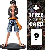 Luffy (Dark Shirt): 17cm One Piece DXF Jeans Freak + 1 FREE Official One Piece Trading Card Bundle (360288)