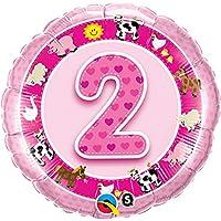 Qualatex 18インチAge 2ファーム動物デザイン円形ホイルバルーン(1サイズ) (ピンク)