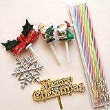 クリスマスケーキオーナメントセット(金のメリークリスマスプレート・サンタクロース2個・ひいらぎ・スノーフレイク・キャンドル)