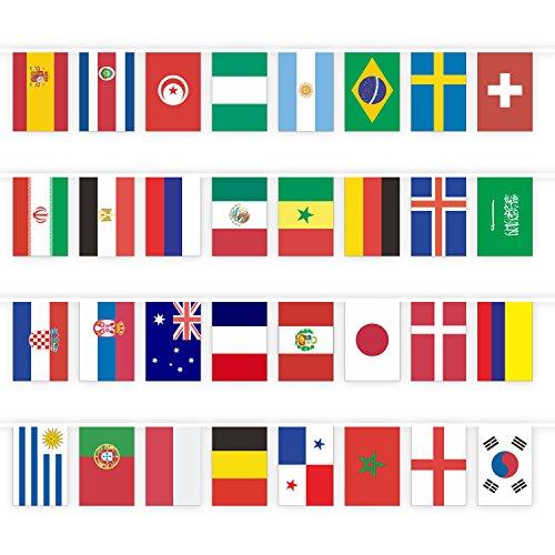 Philonext 2018年 ロシア ワールドカップ旗 32カ国旗 運動会 体育祭 イベント ポリエステル製 カラフル 店舗 装飾 飾り 人気 グッズ 応援