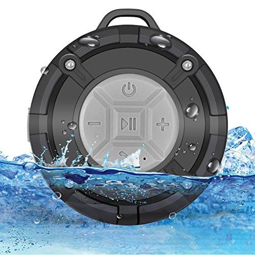Rerii 防水Bluetoothスピーカー ポータブルスピーカー 吸盤付き 高音質 マイク搭載通話可能 (灰色)