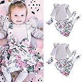 (プタス) Putars ベビーガールズドレス幼児ロングスリーブトップス+フラワーペイントドレス+ヘッドバンド 6ヶ月 - 24ヶ月