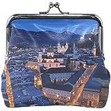 Rhスタジオ小銭入れザルツブルクオーストリア夜トップビュー通り建物印刷財布絶妙なクラスプ小銭入れ女の子女性クラッチハンドバッグ