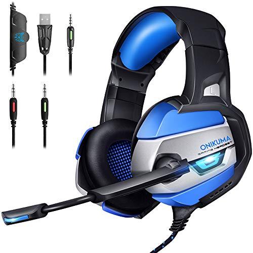 【ゲーミングヘッドセット】ONIKUMA K5ゲーミングヘッドホン PCヘッドセット ゲーミングイヤホン ゲームヘッドフォン PS4ヘッドセット Eスポッツヘッドホン ノイズキャンセリングマイク PS4/PC/Nintendo Switch/Xbox One/スマートフォン/タブレット/ノートパソコン FPSゲーム最適(ブルー)