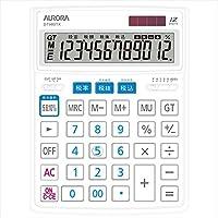オーロラジャパン 卓上大型電卓 12桁表示 ホワイト DT980TX-W