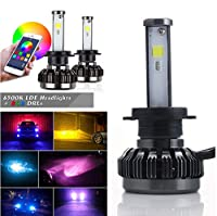 FidgetGear Pair H7 LED RGB 72W 4000LMx2 Car Auto Headlight Driving Fog Bulbs APP Control