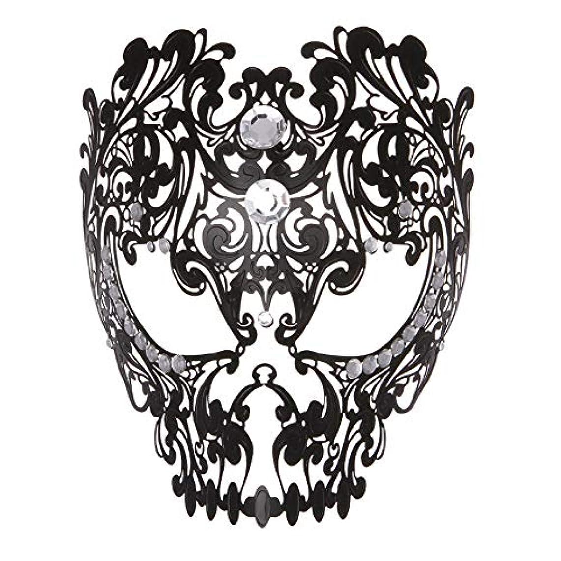 詐欺師ベッドを作る船酔いダンスマスク フルフェイスエナメル金属象眼細工中空マスクナイトクラブパーティーロールプレイングマスカレードマスク パーティーマスク (色 : ブラック, サイズ : Universal)