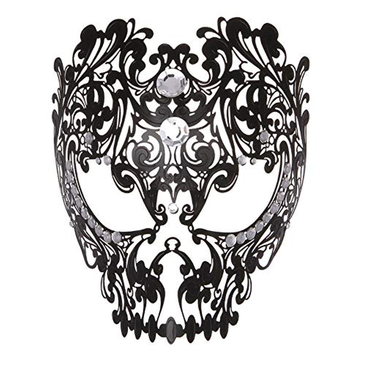 居心地の良い警察署蒸留ダンスマスク フルフェイスエナメル金属象眼細工中空マスクナイトクラブパーティーロールプレイングマスカレードマスク パーティーマスク (色 : ブラック, サイズ : Universal)