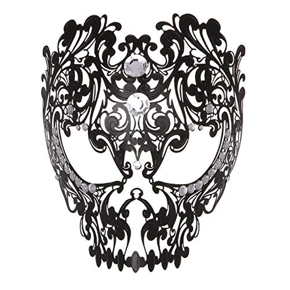 くま対角線ブースダンスマスク フルフェイスエナメル金属象眼細工中空マスクナイトクラブパーティーロールプレイングマスカレードマスク パーティーマスク (色 : ブラック, サイズ : Universal)