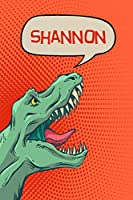 """Shannon: Personalized Dino Drawl and Write, writing Practice Paper for Kids Notebook with Lined Sheets and space to doodle for K-5 Students 120 pages 6""""x9"""""""