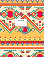 Notebook: Colorful Aztec Geometric Design – Journal / Notebook for School, College, Work, Business Notes, Personal Journaling, Planning, Hand Lettering... Perfect Gift / Present (120 wide ruled pages, Letter Size / 8,5 x 11 inches)