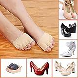 Yiteng 夏 超薄型 5本指 軽量  ハーフパーム  目に見えない  レディース  靴下  女性  ヨガソックス 吸汗性 通気性 ハイヒール前足靴下(皮膚の色)