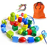 LovesTown Lacing Bead Set, Educational Stringing Toy Montessori Toys Autism Toys for Toddlers Kids Preschool Children with 36