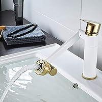 持ち上がるホワイトゴールドのヴィンテージ真鍮、カウンターの洗面器/洗面器/洗面器の上の熱く、冷たい単一の穴、熱く、冷たい混合蛇口 丈夫で丈夫、気持ちいい