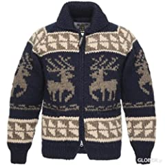 Kanata Full Zip Cowichan Sweater 39980: Navy Deer