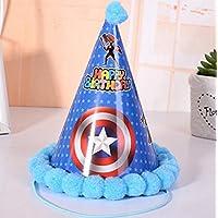 Showking クリエイティブパーティーハット 誕生日パーティー用品 旗と星柄コーンハット 小さなソフトボールキャップ_ブルー