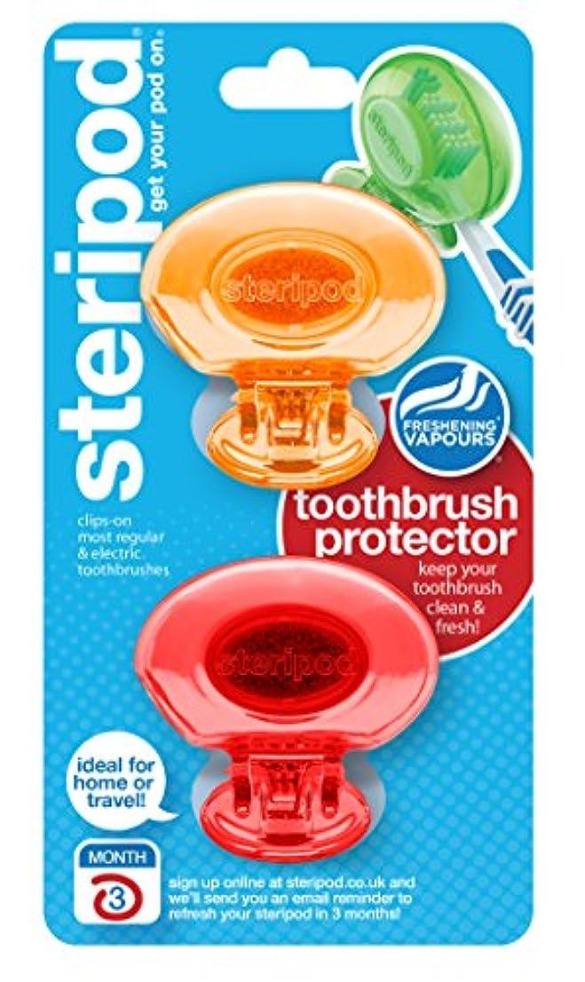 インフルエンザ一瞬浸漬ステリポッド(2 パック・オレンジ&レッド) クリップオン歯ブラシ プロテクター