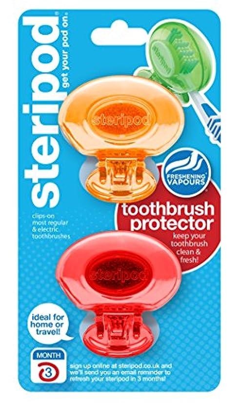 安心させる配管科学的ステリポッド(2 パック?オレンジ&レッド) クリップオン歯ブラシ プロテクター