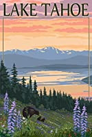 Lake Tahoe – Bear Family and Spring Flowers 24 x 36 Giclee Print LANT-46392-24x36