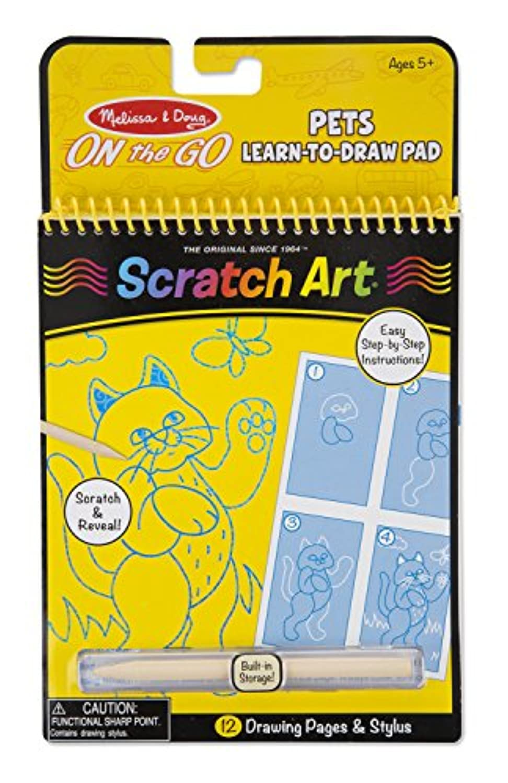 Melissa & Doug On The Go Scratchアート – ペットlearn-to-drawアクティビティパッドwithスタイラス