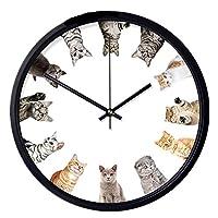 壁掛け時計 現代の壁時計ラウンドミュート壁時計猫かわいい装飾デザインの絶妙な技量は、家の装飾の品質を向上させます ミュートレトロラウンドクラシッククロック (Color : 12 cat, Size : 35x35cm)