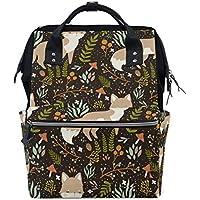 ママバッグ マザーズバッグ リュックサック ハンドバッグ 旅行用 秋の木ノ葉 狐柄 ファション