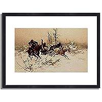 Brandt, Jozef von,1841-1915「Die Flucht.」インテリア アート 絵画 プリント 額装作品 フレーム:木製(黒) サイズ:M (306mm X 397mm)