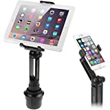Cup Mount Holder iKross 2-in-1 Tablet and Mobile Phone Adjustable Swing Cradle with Extended Cup Car Mount Holder Kit for App
