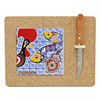 Portuguese Cork Cutting Board With Tile And Knife [並行輸入品]