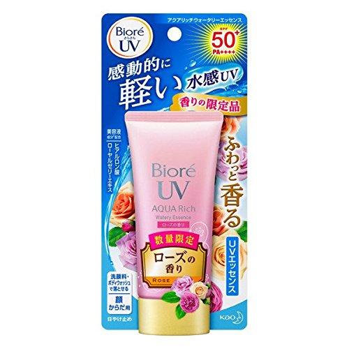 【数量限定】ビオレ さらさらUV アクアリッチ ウォータリーエッセンス ローズの香り SPF50+ PA++++ 50g