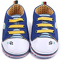 PanDaDa Baby Boys Girls Canvas Toddler Sneaker Anti-Slip First Walkers Candy Shoes 0-12 Months 2 Colors