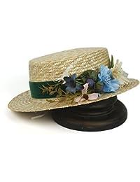 XZP ストローサンハット、ファッションフラット小麦レディワイドブリムパナマビーチハット女性のための花