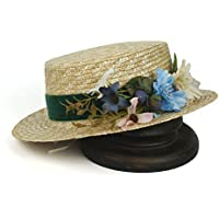 WZS HOME 帽子ファッション女性フラット小麦ストローサンハットレディワイドブリムパナマビーチハット花 帽子 (色 : ナチュラル, サイズ : 56-58cm)
