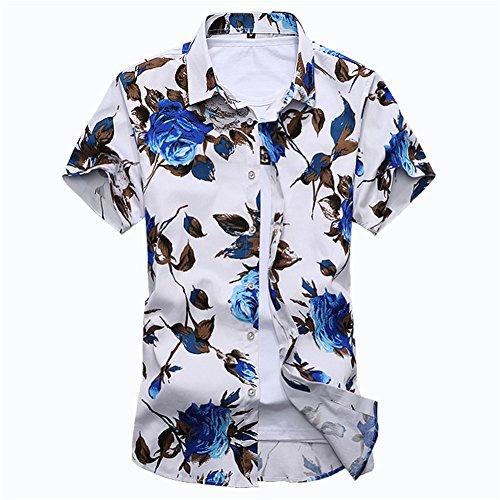 メンズシャツ カジュアルシャツ 春 夏 花柄シャツ 花柄Tシャツ 柄シャツ メンズTシャツ カットソ ー 半袖 ジャガード カジュアル アロハ 花柄 アロハシャツ リゾート ハワイ フラワー ボタニカル柄 ハワイビーチ系 半袖シャツ スリム きれいめ 大きいサイズ (L, ブルー)