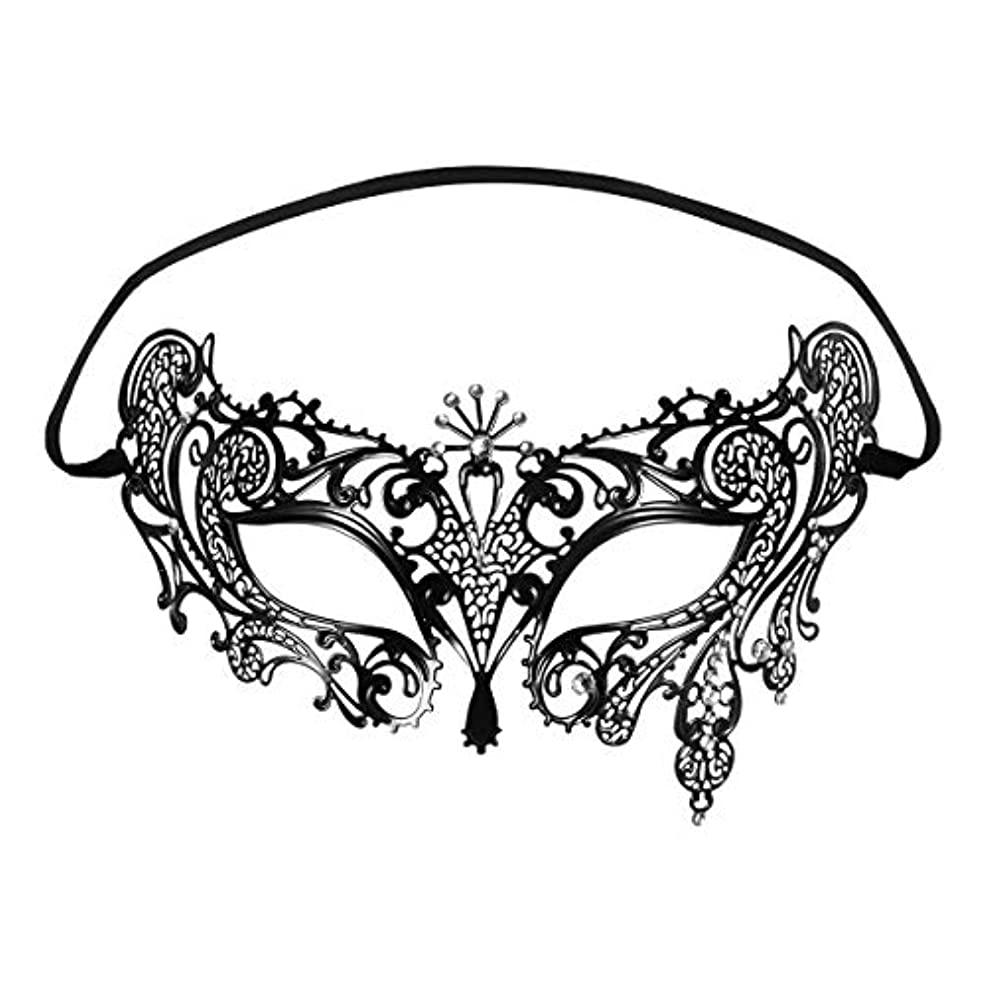 指令行ぞっとするようなFoxnovo Foxnovoファッション高級ベネチアンスタイルディアマンテメタルフィリグリー仮装用マスク結婚式/パーティー用(ブラック)